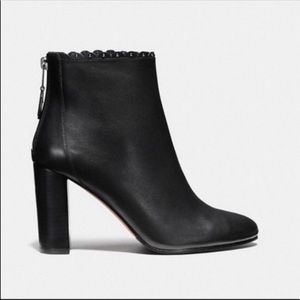 NWT Coach Black Leather Heeled Booties Size 9.5